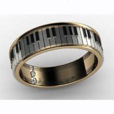 Обручальное кольцо из комбинированного золота с агатом