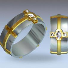 Обручальное кольцо из комбинированного золота с алмазом и бриллиантами