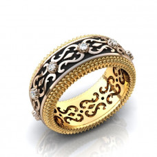 Обручальное кольцо из комбинированного золота с бриллиантами и черной эмалью