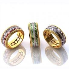 Обручальное кольцо из комбинированного золота с бриллиантами и эмалью