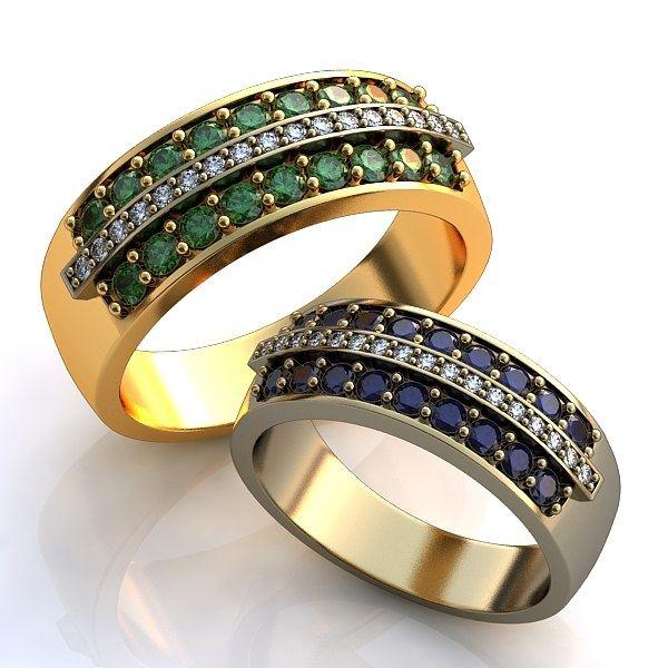 Обручальное кольцо из комбинированного золота с бриллиантами и изумрудами