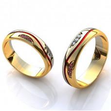Обручальное кольцо из комбинированного золота с бриллиантами и рубинами