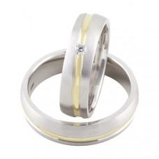 Обручальное кольцо из комбинированного золота с бриллиантоми