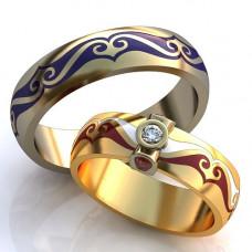 Обручальное кольцо из комбинированного золота с бриллиантом,рубинами и эмалью