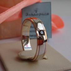 Обручальное кольцо из комбинированного золота с черным бриллиантом