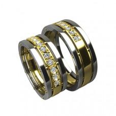 Обручальное кольцо из комбинированного золота с десятью бриллиантами