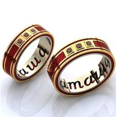 Обручальное кольцо из комбинированного золота с эмалью и рубинами