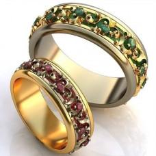Обручальное кольцо из комбинированного золота с изумрудами и эмалью