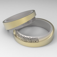 Обручальное кольцо из комбинированного золота с отпечатком пальца
