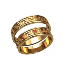 Обручальное кольцо из комбинированного золота с рубинами