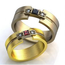 Обручальное кольцо из комбинированного золота с рубином и бриллиантами