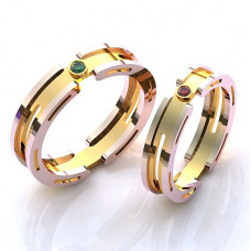 Обручальное кольцо из комбинированного золота с рубином