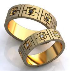Обручальное кольцо из комбинированного золота с сапфирами