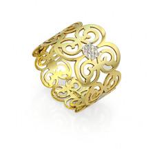 Обручальное кольцо из комбинированного золота с узором
