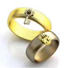 Обручальное кольцо из комбинированного золота с замочком