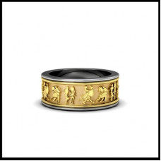 Обручальное кольцо из комбинированного золота 'Танцы'