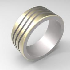 Обручальное кольцо из комбинированного золота 'Волны'