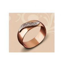 Обручальное кольцо из комбинированого золота с бриллиантами