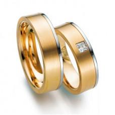 Обручальное кольцо из красного и голубого золота