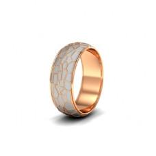 Обручальное кольцо из красного золота с белой эмалью