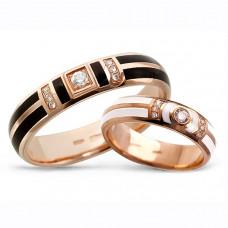 Обручальное кольцо из красного золота с бриллиантами и эмалью