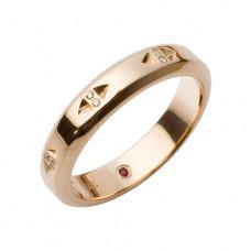 Обручальное кольцо из красного золота с бриллиантами и рубином