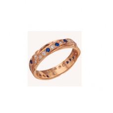 Обручальное кольцо из красного золота с бриллиантами и сапфирами
