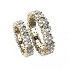 Обручальное кольцо из красного золота с бриллиантами высокого качества