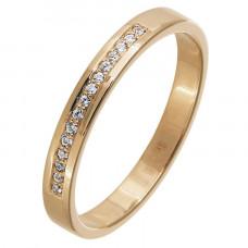 Обручальное кольцо из красного золота с бриллиантами