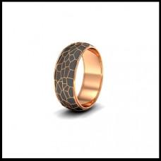 Обручальное кольцо из красного золота с черной эмалью