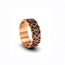 Обручальное кольцо из красного золота с эмалью