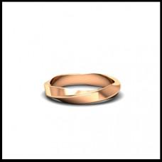 Обручальное кольцо из красного золота с изгибом