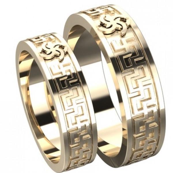 Обручальное кольцо из красного золота с символом