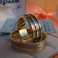 Обручальное кольцо из лимонного золота, родированное