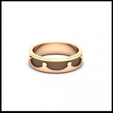 Обручальное кольцо из розового золота 'Корона' с чернением