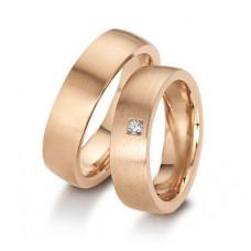Обручальное кольцо из розового золота с бриллиантом