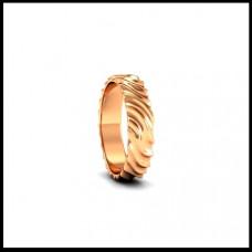 Обручальное кольцо из розового золота с рельефом