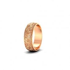 Обручальное кольцо из розового золота с узором