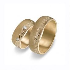 Обручальное кольцо желтого золота с бриллиантами