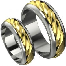 Обручальное кольцо 'Жгутик' из комбинированного золота