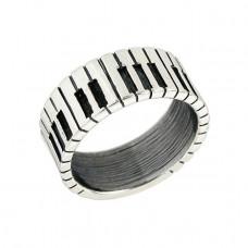 Обручальное кольцо 'Клавиши' из белого золота