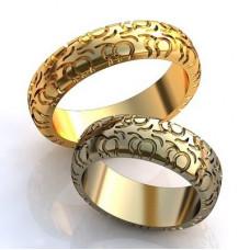 """Обручальное кольцо """"Колесо"""" из желтого золота"""