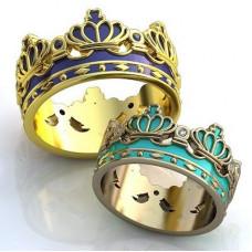 """Обручальное кольцо """"Корона"""" из белого золота с бриллиантами и эмалью"""