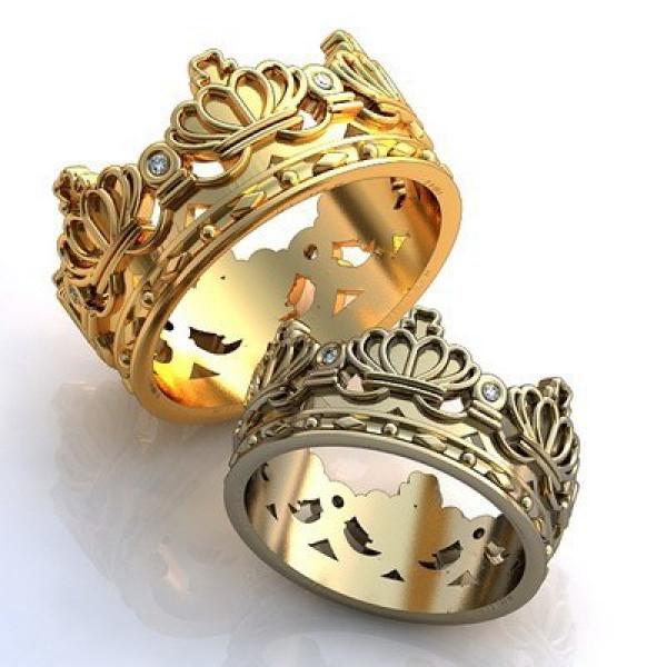 """Обручальное кольцо """"Корона"""" из белого золота с бриллиантами"""