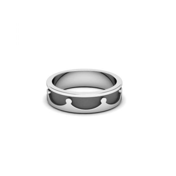 Обручальное кольцо 'Корона' из белого золота с чернением
