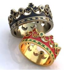 """Обручальное кольцо """"Корона"""" из белого золота с черными бриллиантами и эмалью"""