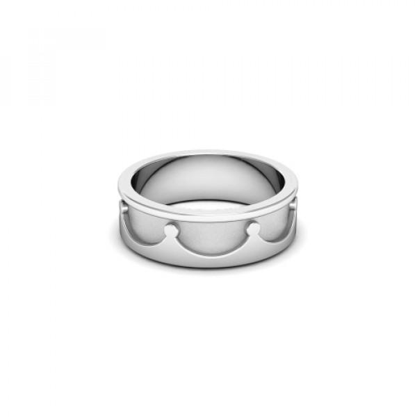 Обручальное кольцо 'Корона' из белого золота