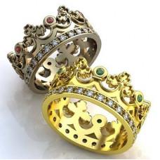 """Обручальное кольцо """"Корона"""" из желтого золота с бриллиантами и изумрудами"""