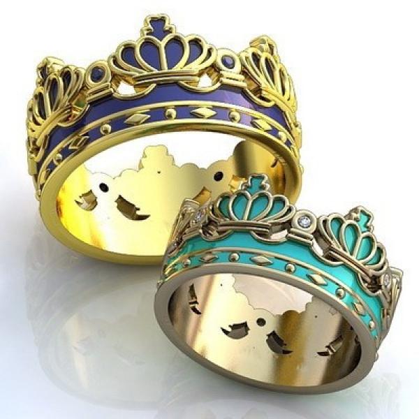 """Обручальное кольцо """"Корона"""" из желтого золота с сапфирами и эмалью"""