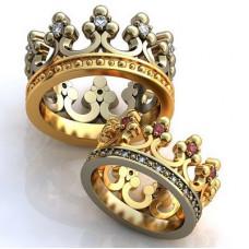 """Обручальное кольцо """"Корона"""" из комбинированного золота с бриллиантами и рубинами"""